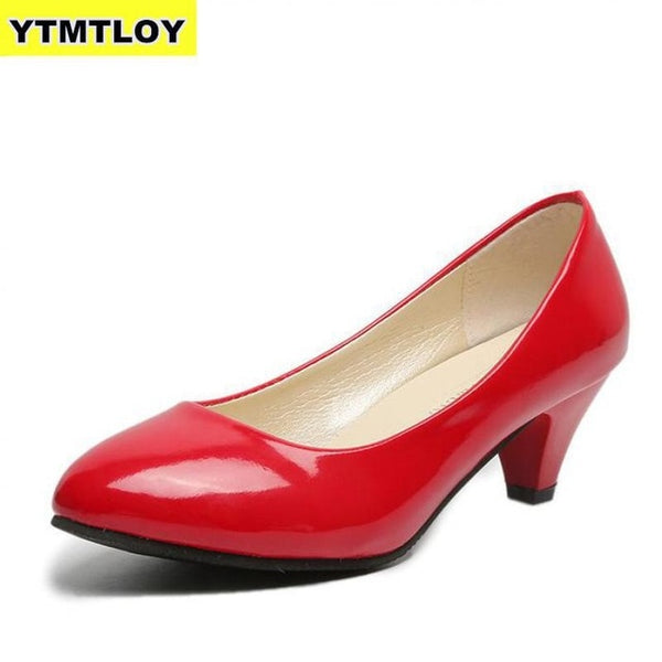 Women's Leather Med Heels New High Quality Shoes Classic Black&White Pumps for Office Ladies White High Heels Red Sexy Heels - Creative Dreamscape