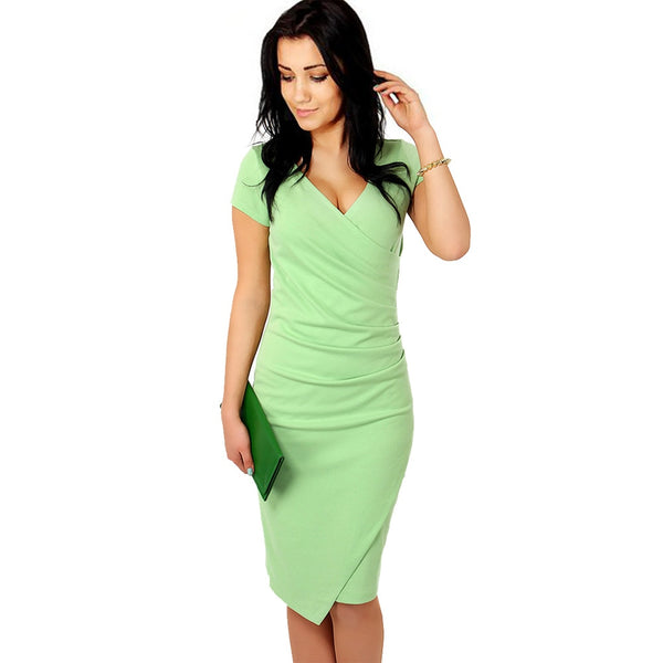 Nice-forever Office Women Vintage Summer Solid Deep V neck Formal Stretch Pencil work Bodycon Pocket Dress - Creative Dreamscape