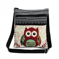 Embroidery Crossbody Bag Canvas Teenager Ladies Schoolbag Cute Owl Travel Shoulder Double Cartoon Messenger Beach Bag - Creative Dreamscape