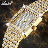 MISSFOX Diamond Watch For Women Luxury Brand Ladies Gold Square Watch Minimalist Analog Quartz Movt Unique Female Iced Out Watch - Creative Dreamscape