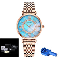 Rose Gold Ladies Watch GUANQIN GS19150 Blue Fritillaria Face Woman Watch 2019 Top Brand Waterproof Analog Quartz Round Clock New - Creative Dreamscape