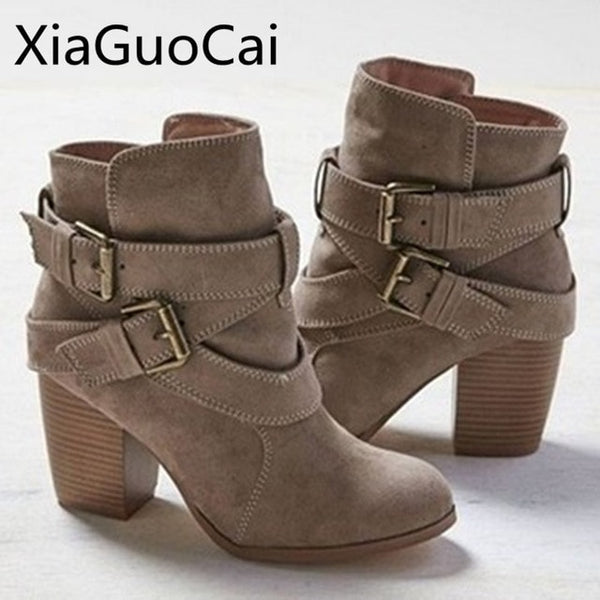Europe Style Vintage Women High Heels Ankle Boots Buckle Rubber Casual Ladies Shoes Martin Boots Female Chelsea Boots - Creative Dreamscape