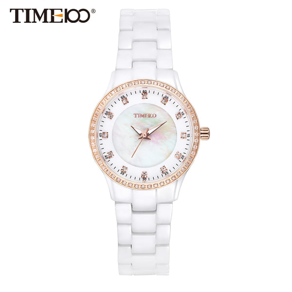 Time100 New Women's Ceramic Watches Luxury Fashion white High Density Strap Diamond Shell Dial Wrist Watch Top Brand - Creative Dreamscape