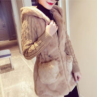 Bigsweety Women Hooded Winter Warm Jacket Loose Knitted Plush Jacket Winter Thick Outerwear Coat Ladies Casual Coats Pocket - Creative Dreamscape