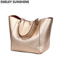 2019 Gold Women Genuine Leather Handbags High Quality Big Shoulder Bags Female Handbag Large Ladies Hand Bag Hangbags Vintage - Creative Dreamscape