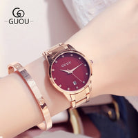 reloj mujer Red Stainless Steel Women Watches Top Brand Luxury Ultra-thin WristWatch Women Watch Ladies Watch Clock montre femme - Creative Dreamscape