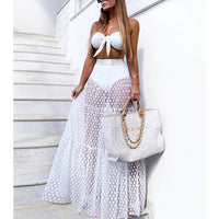 Women Mesh Sheer Maxi Skirt Wrap Skirt Beach Tulle See Through Dress Beachwear Swimwear Bikini Wear Cover Up Lace Crochet Dress - Creative Dreamscape