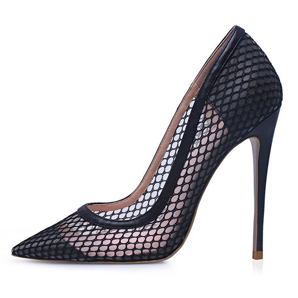 GenShuo High Heels 12cm Black Pumps Silver High Heels Wedding Shoes Nude Pumps Bridal Shoes Estiletos Mujer 2019 Women Pumps - Creative Dreamscape