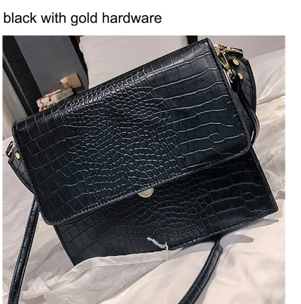Small Vintage Bags Retro Female Pu Leather Hasp Messenger Bags for Girls/ladies Alligator Crossbody Bags for Women 2019 - Creative Dreamscape