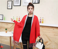 New Women Ladies Tassel Shawl Cape Coat Fringe Poncho Coat Shawl Scarf Plain Solid Cardigan Coat Lady Streetwear Cape - Creative Dreamscape