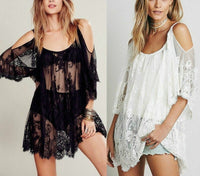 Women Summer Lace Floral Swimwear Bikini Crochet Cover Up Beach Dress Shirt Tops Fashion Sexy Loose Hollow Sunscreen Cover-up - Creative Dreamscape