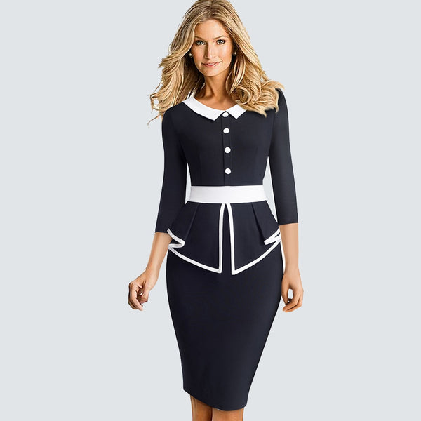 Women Patchwork Ruffle Elegant Business dress Retro Charming Slim Office lady dress HB558 - Creative Dreamscape