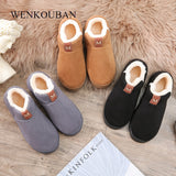 Slippers For Women Furry Slides Warm Winter Home Slippers Indoor Flats Shoes - Creative Dreamscape