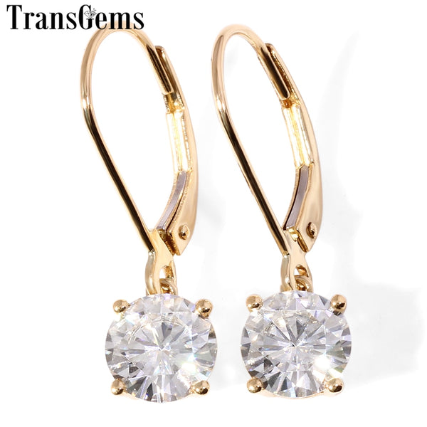 Transgems 14K 585 Yellow Gold Center 2CTW 6.5MM F Color Moissanite Drop Earrings For Women Wedding Gifts Fine Jewelry - Creative Dreamscape