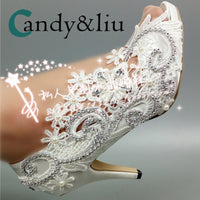 White Lace Flower Wedding Shoes Silver Cyrstal Beaded Peep Toe Slip-on Spike Heel Women Pumps for Party Banquet Bridesmaid - Creative Dreamscape