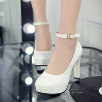 Spring Autumn Women Pumps PU Zapatos Mujer Wedding Shoes Woman Ladies Buckle Strap Gladiator High Heels Womens Shoes 34-40 - Creative Dreamscape
