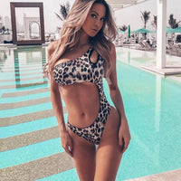 Swimwear Women 2019 New One Piece Solid Swimsuit Sexy High Cut Monokini Hollow Out Biquini One Shoulder Bathing Suit - Creative Dreamscape