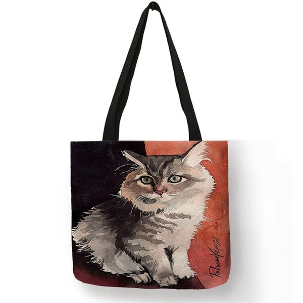 SY0107 Ladies Handbags Designer Tote Bags for Women 2019 Creative Cat Oil Painting Print Shopping Bags Large Capacity - Creative Dreamscape