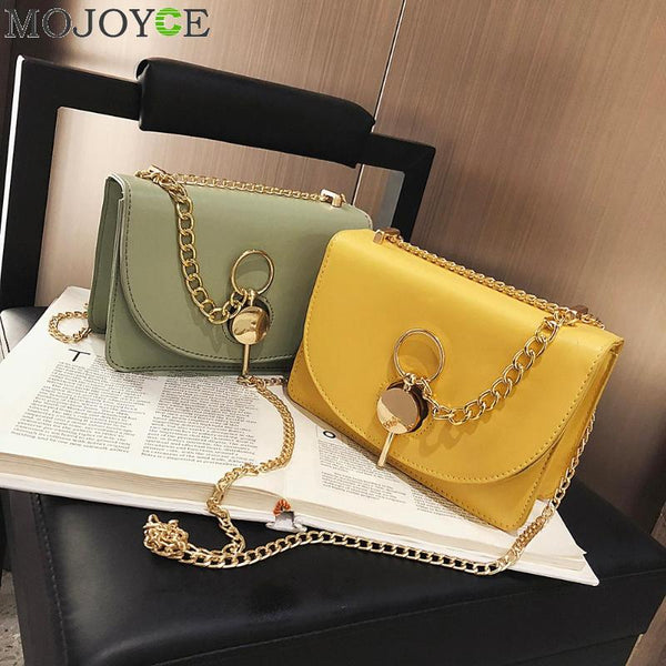 Fashion Messenger Bags for Women 2019 Leather Pure Color Chain Shoulder Crossbody Bag - Creative Dreamscape