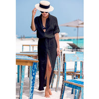 2019 Sexy Chiffon Beach Cover Up Bikini Swimwear Women Cover Up Beach Dress Shirt Long Tunics Bathing Suits Cover-Ups Beachwear - Creative Dreamscape