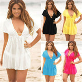 2019 Beach Dresses For Women Beach Cover Up Solid Sarong Holiday Casual Short Sleeve V Neck Beachwear Swimwear Female Mini Dress - Creative Dreamscape
