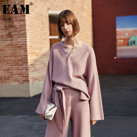 [EAM] Button Split Knitting Sweater Loose Fit Round Neck Long Sleeve Women Sweater New Fashion Tide Spring Autumn 2020 1H830 - Creative Dreamscape