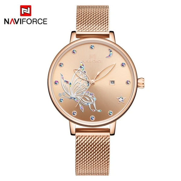 NAVIFORCE Luxury Brand Watch Women Fashion Dress Quartz Ladies Mesh Stainless Steel 3ATM Waterproof Casual Watches for Girl 2020 - Creative Dreamscape