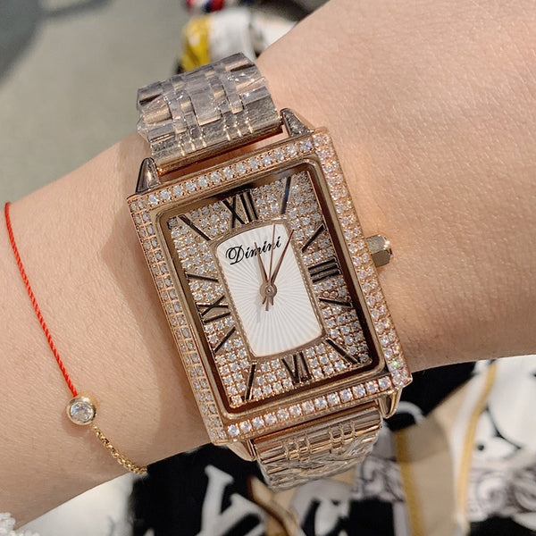 New Rectang Gypsophila Diamond Women Watches Elegant Lady Casual Quartz Watch Women Stainless Steel Woman Watch dames horloges - Creative Dreamscape
