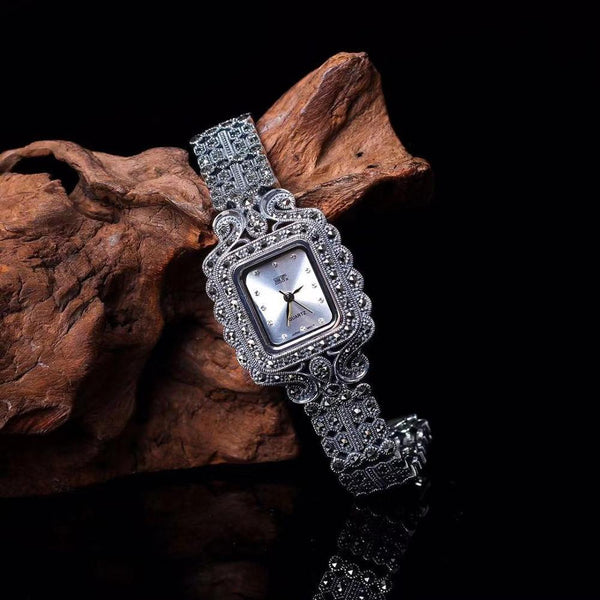 New Fashion Classic Elegant S925 Silver Pure Thai Silver Flower Bracelet Watches Thailand Process Rhinestone Bangle Dresswatch - Creative Dreamscape