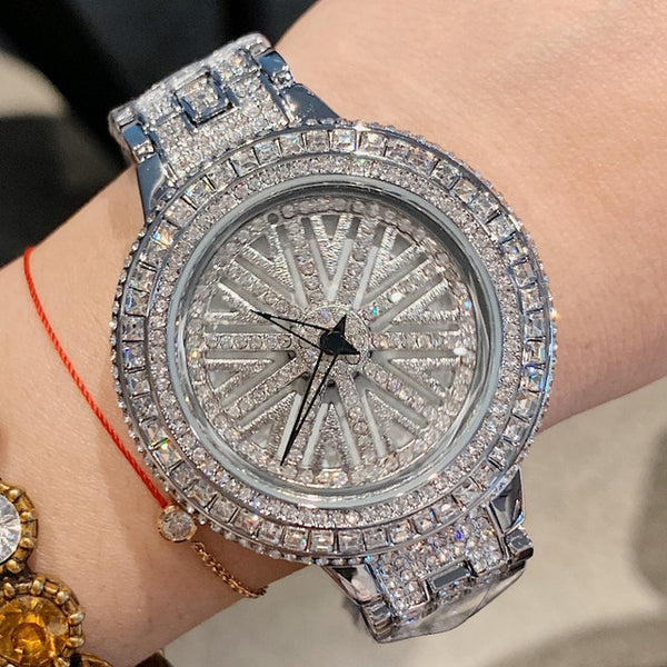 Woman Rotation Rhinestone Watch Lady Siver Dress Watches Women Big Dial Bracelet Wristwatch Crystal Watch horloges vrouwen 2019 - Creative Dreamscape