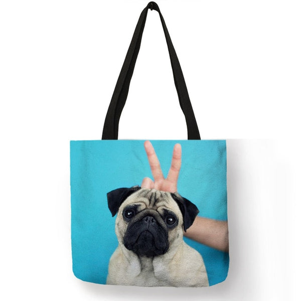 Personalized Simple Pug Dog 3D Printed Pink Purple Handbag for Women Girls Soft College Tote Bag High Quality Linen Shoulder Bag - Creative Dreamscape