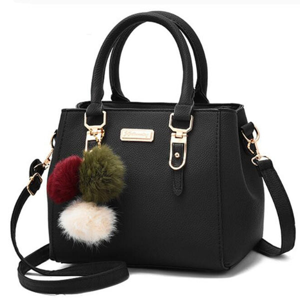 Luxury Handbag Women Bags Women Hairball Shoulder Bag Ladies Hand Bags Vintage Leather Messenger Bag Female Hand Bolso Bags - Creative Dreamscape