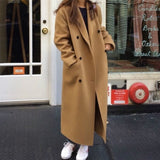 Korea Women Autumn Winter Double Breasted Long Wool Coat Ladies Long Sleeve Notched Collar Overcoat Parka Jacket Vintage - Creative Dreamscape