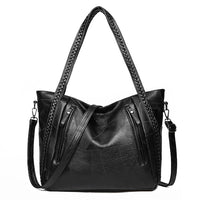 New brand high quality soft leather large pocket casual handbag women's handbag shoulder bag large capacity handbag Black Brown - Creative Dreamscape