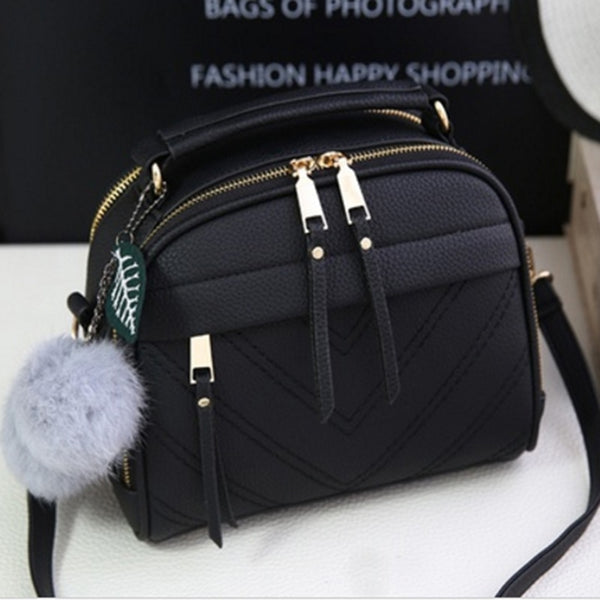 PU Leather Handbag for Women New Girl Messenger Bags with Fair Ball Tassel Fashion Female Shoulder Bags Ladies Party Handbags - Creative Dreamscape