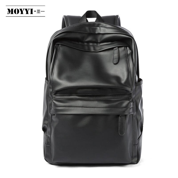 MOYYI PU Leather Backpack Men Travel Bag Waterproof Simple Style School Bags for Teenage Casual Fashion Pack Anti-Theft Bagpack - Creative Dreamscape
