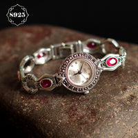 Limited Edition S925 Pure Silver Watch Ruby-Corundum Classical Lady Thai Silver Bracelet Thailand Process Rhinestone Bangle - Creative Dreamscape