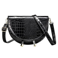 Crocodile Pattern Crossbody Bags for Women Half Round Messenger Bag Pu Leather Luxury Handbags Women Bags Designer Shoulder Bag - Creative Dreamscape