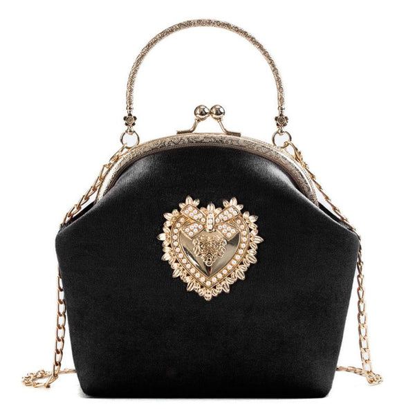 Women Velvet Handbag Vintage Heart Design Evening Bag Wedding Party Bride Clutch Shoulder Bags Purse - Creative Dreamscape