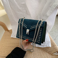 Retro Fashion Female Rivet bag 2019 New High Quality Matte PU Leather Women's Designer Handbag Lock Chain Shoulder Messenger bag - Creative Dreamscape