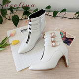 Meotina Shoes Women Boots Autumn High Heels Ankle Boots Pointed Toe Buckle Female Boots Zip Ladies Shoes White Big Size 44 45 11 - Creative Dreamscape