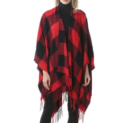Plaid Pashmina 6 Colors Fashion Winter Warm Plaid Ponchos Oversized Shawls and Wraps Cashmere Scarves Women Cape - Creative Dreamscape