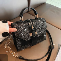 2019 women's Bling bling PU leather shoulder bags lady solid black and burgundy crossbody chain handbags girl fashion sling bags - Creative Dreamscape