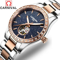 CARNIVAL Luxury Diamond Starry Women Watches Women's Fashion Automatic Mechanical Watch Lady's Waterproof Steel Writwatch Clock - Creative Dreamscape
