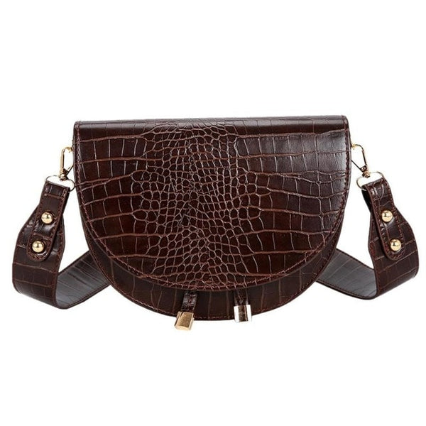 Retro Handbag Women Crocodile Leather Shopping Totes Retro Crossbody Handbags Women Semicircle Small PU Leather Shoulder Bag - Creative Dreamscape