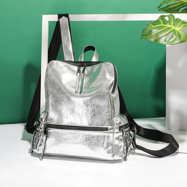 Designer larger capacity school shoulder bag casual PU women anti-theft backpack Silver reflective backpacks Sac a Dos B42-75 - Creative Dreamscape