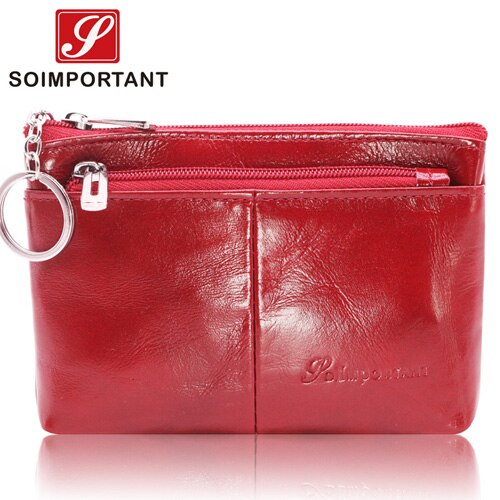 Luxury Short Slim Women Wallets Female Coin Purse Genuine Oil Wax Leather Zipper Mini Walet Lady Money Bag Credit Card Key Ring - Creative Dreamscape