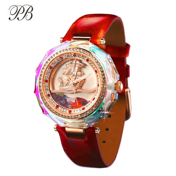Princess Butterfly Ladies Crystal Fish Watch Flow Sand Sailboat Women Watches Waterproof Leather Strap Quartz Relogio Feminino - Creative Dreamscape