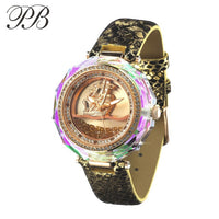 Princess Butterfly Women Watches Quicksand&Sailing Dial Crystal Ladies Watch Luxury Leather Quartz Relogio Feminino - Creative Dreamscape
