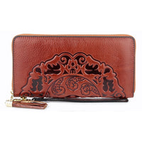 Luxurious 100% Genuine Oil Waxing Leather Flower Women Wallet 2019 Large Capacity Long Tassel Style Ladies Purses With Hand Rope - Creative Dreamscape